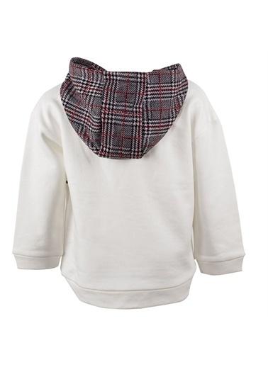 Silversun Kids Baskılı Kapşonlu Uzun Kol Kız Çocuk Tişört Js 215013 Ekru